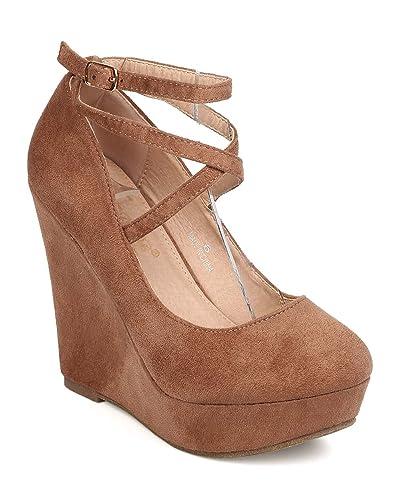 73584693547b Women Faux Suede Round Toe Cross Strap Platform Wedge Heel FB35 - Taupe  (Size