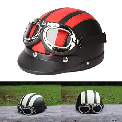Amazon.es: ViZe Cascos Moto Perno Medio Casco Abierto Motocicleta Unisex Protección Motocicleta Con Visera y Bufanda 54-60 cm (Rojo)