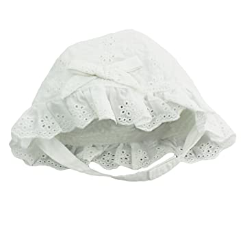 Image Unavailable. Image not available for. Color  Little Me Baby Girls  White Eyelet Sun Hat with Chin Strap- ... bc8f50b54a4d