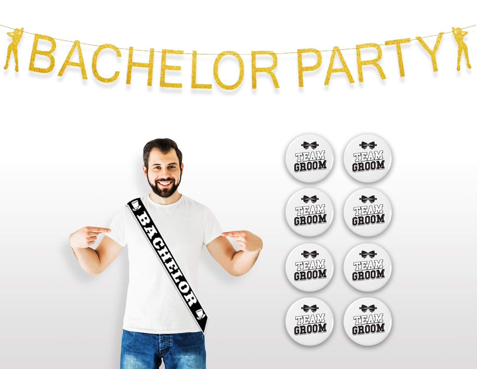 JCP Bachelor Party Supplies, (Bachelor Banner, Bachelor Sash, and Team Groom Buttons) Bachelor Party Decorations