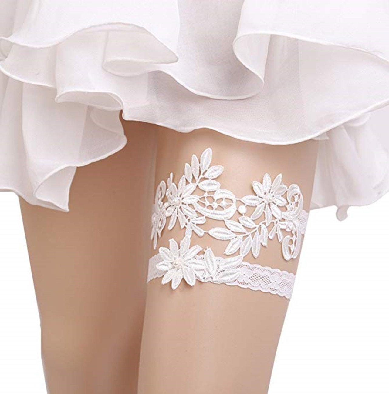 M_Eshop Women Wedding Bridal Garter with Pearl Lace Garter Set (White-1)