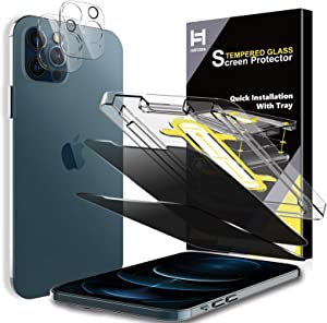 HATOSHI [2 Pack] Privacy Screen Protector + [2 Pack] Camera Lens Protector Compatible with iPhone 12 Pro 5G 6.1'' (NOT for iPhone 12 5G 6.1''), [Tempered Glass][Upgraded Installation Tray]