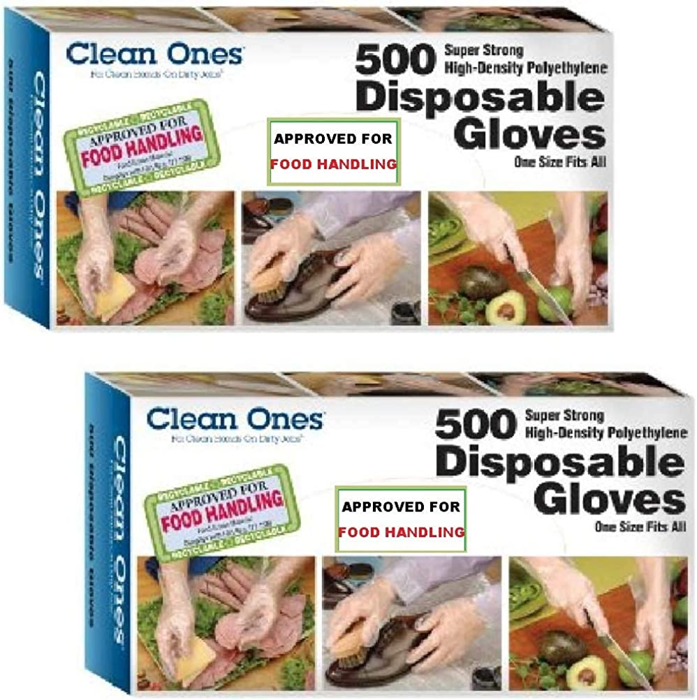 Clean ones Disposable Gloves - 2000 Gloves - 4 Pack (500 Count Each)
