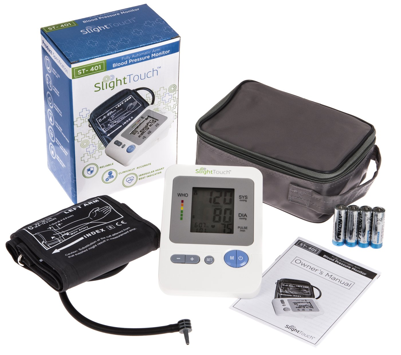 Slight Touch FDA Approved Fully Automatic Upper Arm Blood Pressure Monitor Large Cuff 11.8 -16.5 ST-402 Batteries and Case Included