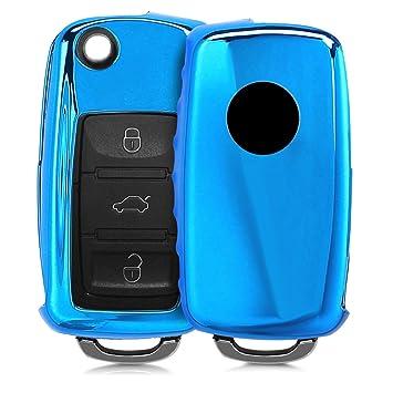 kwmobile Funda para Llave de 3 Botones para Coche VW Skoda Seat - Carcasa [Suave] de [TPU] para Llaves - Cover de Mando y Control de Auto en [Azul ...