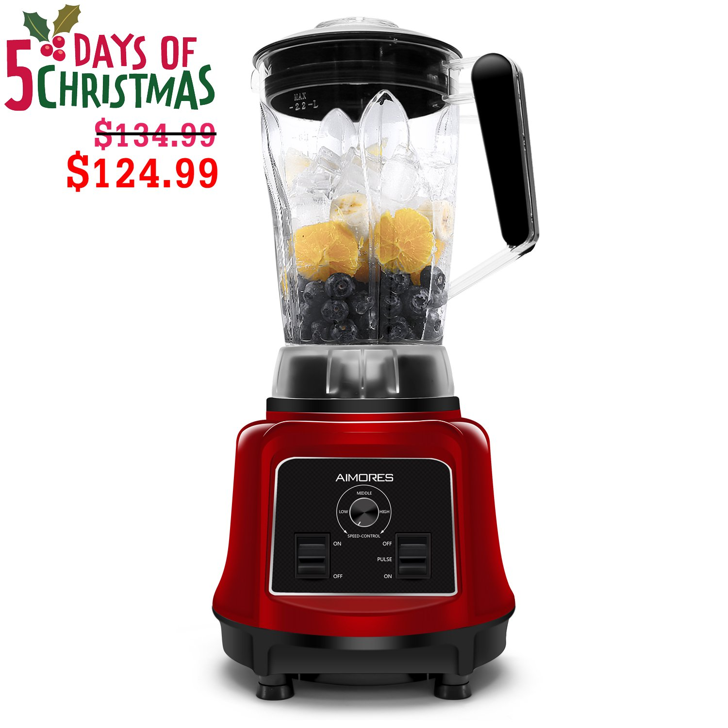 Commercial Blender Aimores for Smoothie | 750z. High Speed Juicer, Ice Cream Maker | Optimized 6 Sharp Blades | Auto Clean & Simple Control | w/ Recipe & Tamper | ETL & FDA Certified (Red)