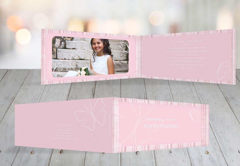 Kartenparadies Einladungskarte Konfirmation Butterfly 2, hochwertige Einladung zur Konfirmationsfeier inklusive Umschläge   10 Karten - (Format  215x105 mm) Farbe  MattGelb B01N6WWRPM   Exquisite Handwerkskunst    Große Klassifizierung    Viele Sti
