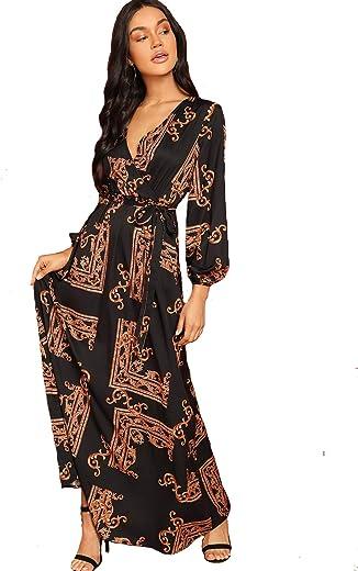 فستان Milumia النسائي الطويل ذو التصميم المتدفق المطبوع عليه أزهار جميلة
