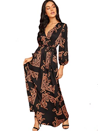 d93250739c Milumia Women Scarf Print Belted V Neck Long Sleeve Boho Maxi Wrap Dress  Multicolor-6