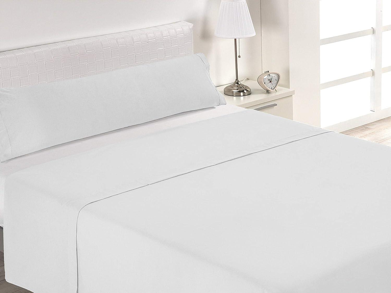 SABANALIA Juego de sábanas Blancas de Hostelería (Disponible en Varias Medidas), Cama 150