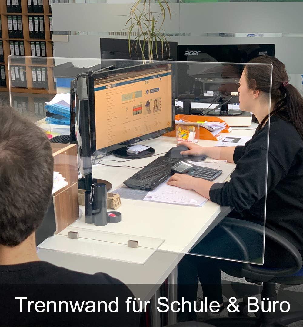 Trennwand Plexiglas Schreibtisch 80x50cm Acrylic Table Dividing Wall| 5mm Materialst/ärke Plexiglas Abtrennwand Displayhersteller Selbststehend f/ür den Arbeitsbereich