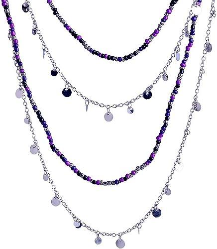 Black,purple costume jewellery Necklaces,chains Blue Bead Necklace