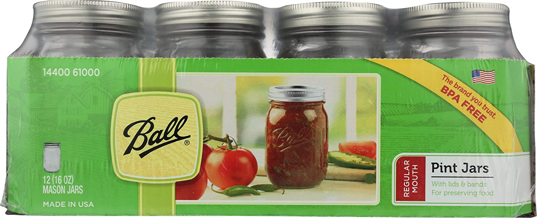 Ball Pint Jar Set of 12, 16 oz Regular Mouth