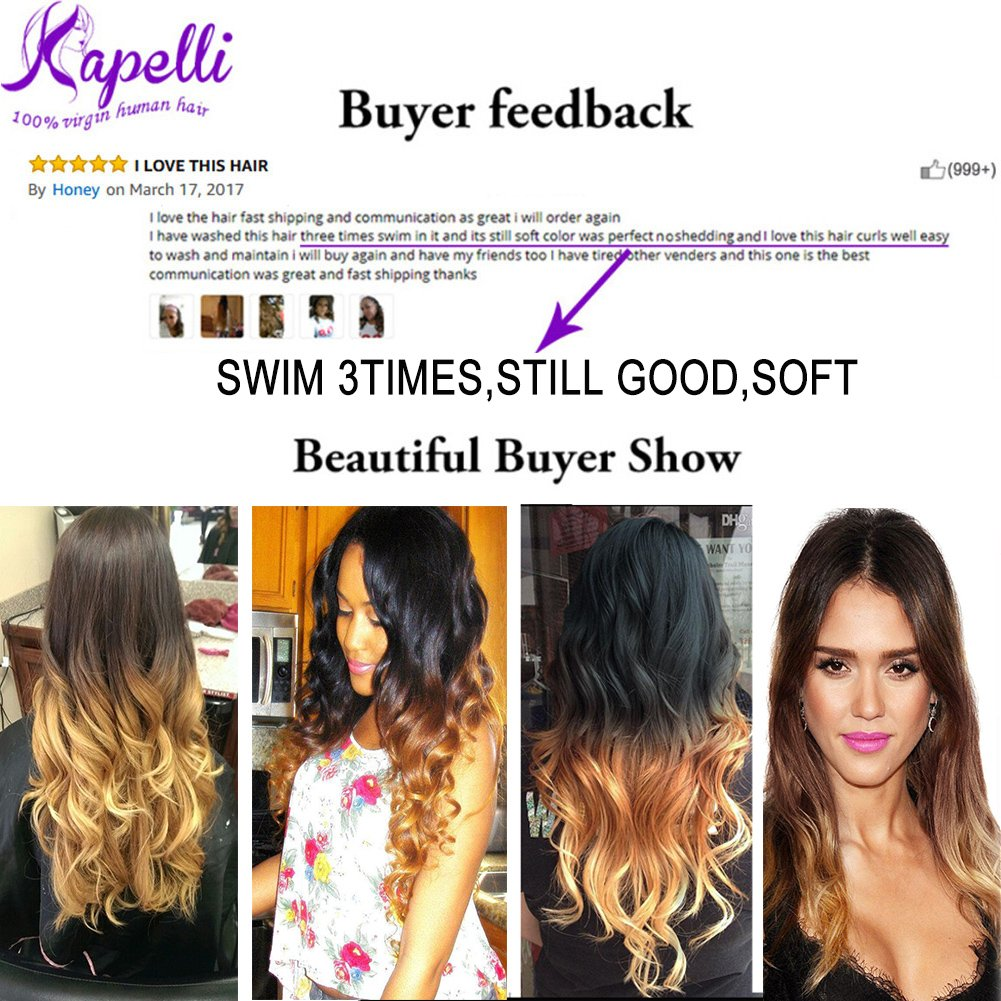 Ombre Brazilian Hair 3 Bundles With Closure, Ombre Human Hair Body Wave 3pcs With Lace Closure (20 22 24+18, #T1B/27) by Kapelli Hair (Image #3)