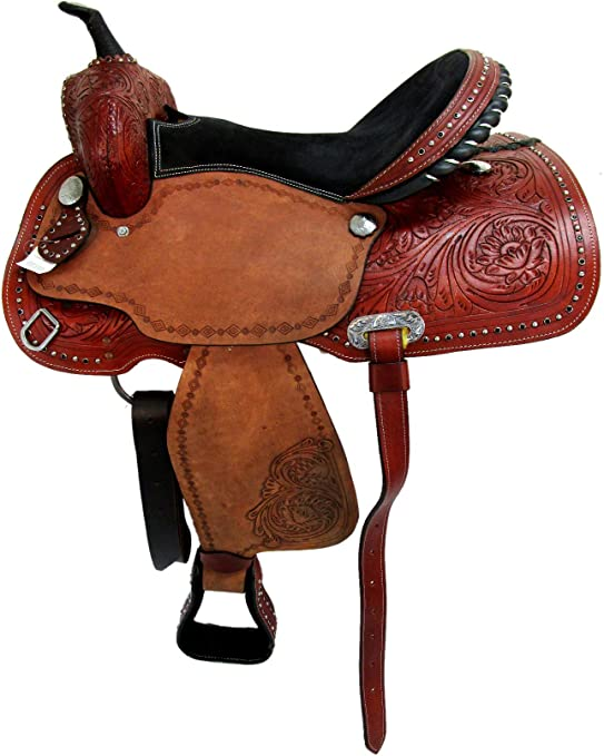 COMFY TRAIL SADDLE 15 16 WESTERN HORSE PLEASURE FLORAL TOOLED LEATHER TACK SET