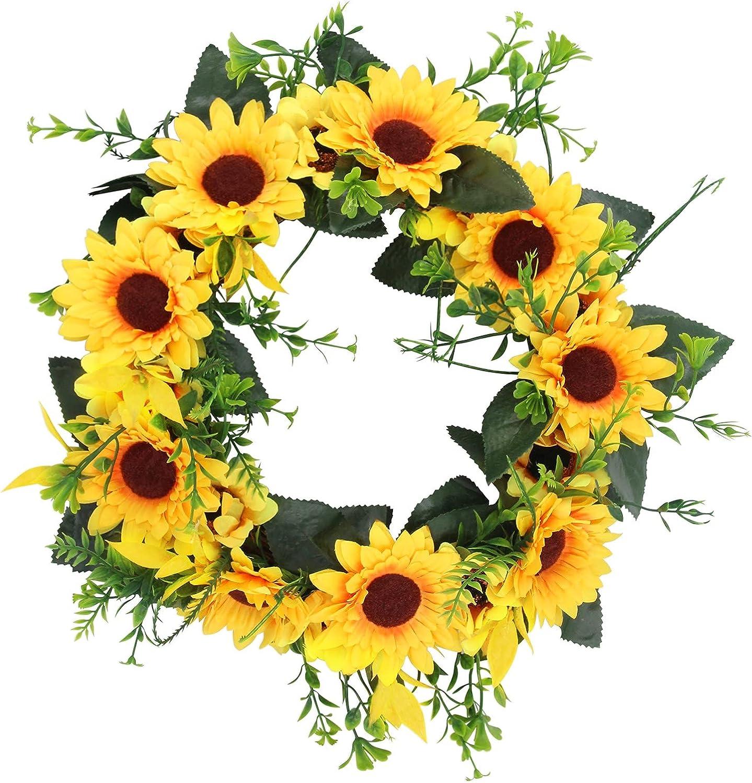 Artificial Wreath Sunflower Front-Door Wreath - 17