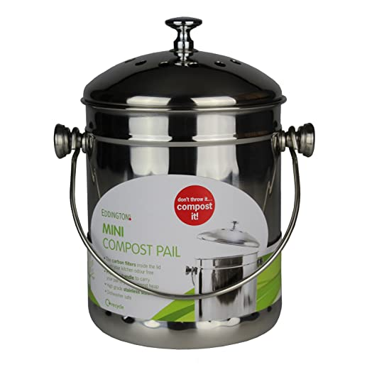 mini stainless steel kitchen compost caddy with filter metal composting bin for food waste recycling