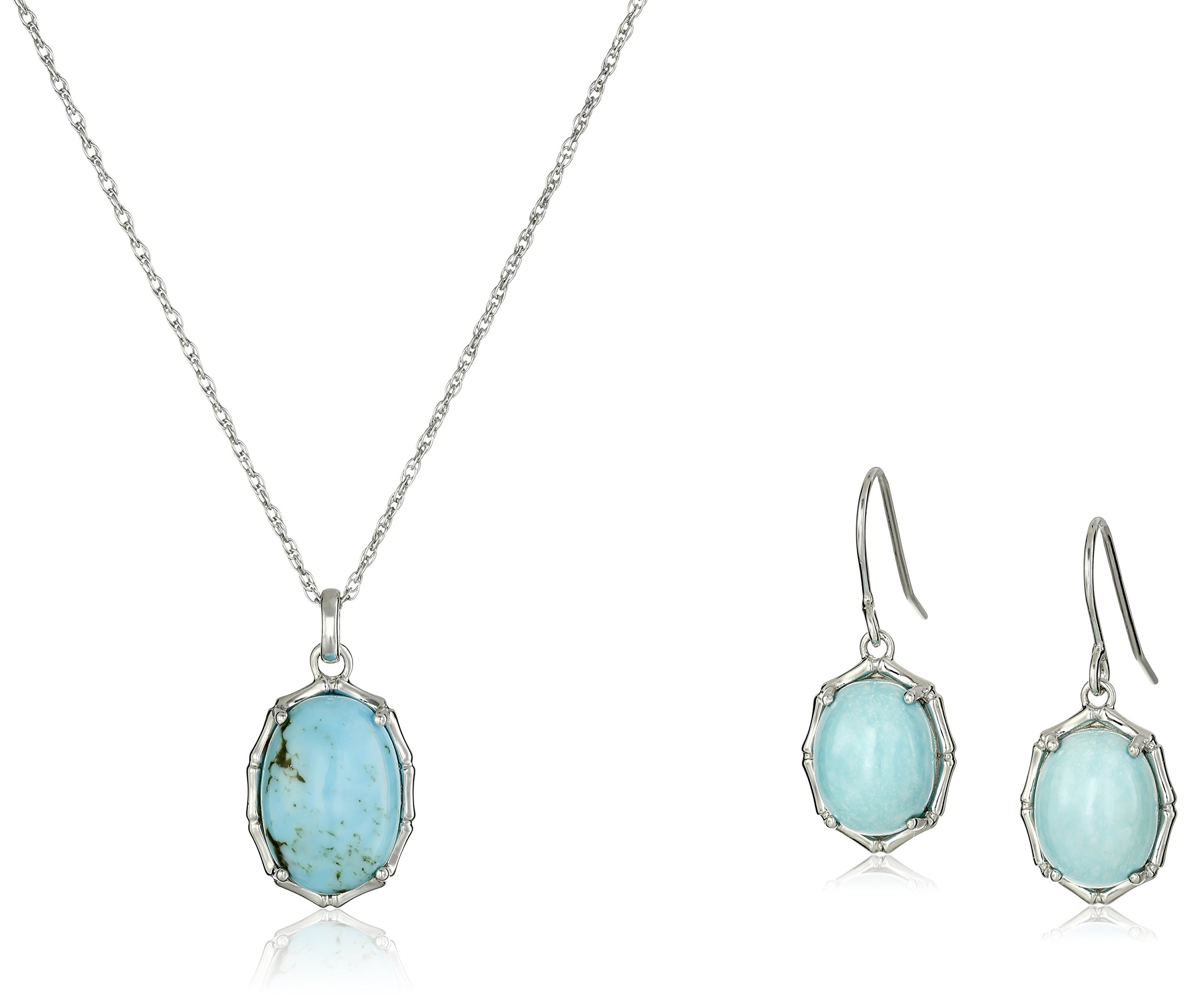 Sterling Silver Turquoise Oval Bamboo Framed Earrings and Pendant Necklace Jewelry Set, 18''