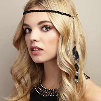 Amazon.com   QueenMee Black Feather Headband 1920s Headband Boho Headband  Boho Feather Headband Black Boho Headband Black Gold Feather Headband  Feather ... c5e5e29d42d