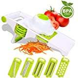 Mandoline Slicer Kitchen Gadgets, Vegetable Slicer w/ 5-Blades Side Storage Design, Premium Food Slicer, Fruit Peeler,Cheese, Garlic Grater, Perfect for Salad, Zucchini Pasta Noodle Spaghetti