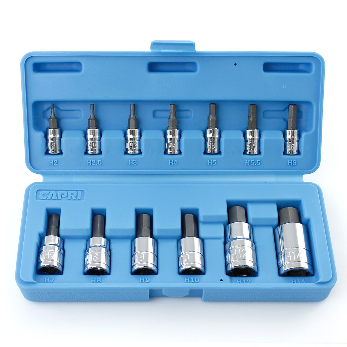 Capri Tools CP30002 S2 Metric Hex Wrench Bit Socket Sets, 13-Piece