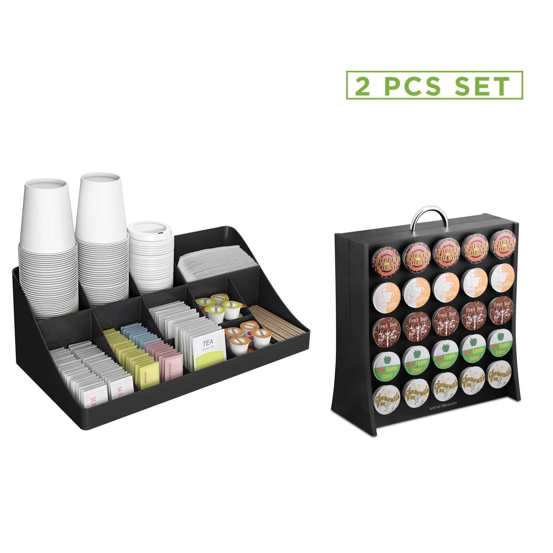 Mind Reader COMORGRAC-BLK 11 Compartment Condiment 50 Capacity K-Cup Single Serve Coffee Pod Holder Storage Organizer, Black, One Size by Mind Reader
