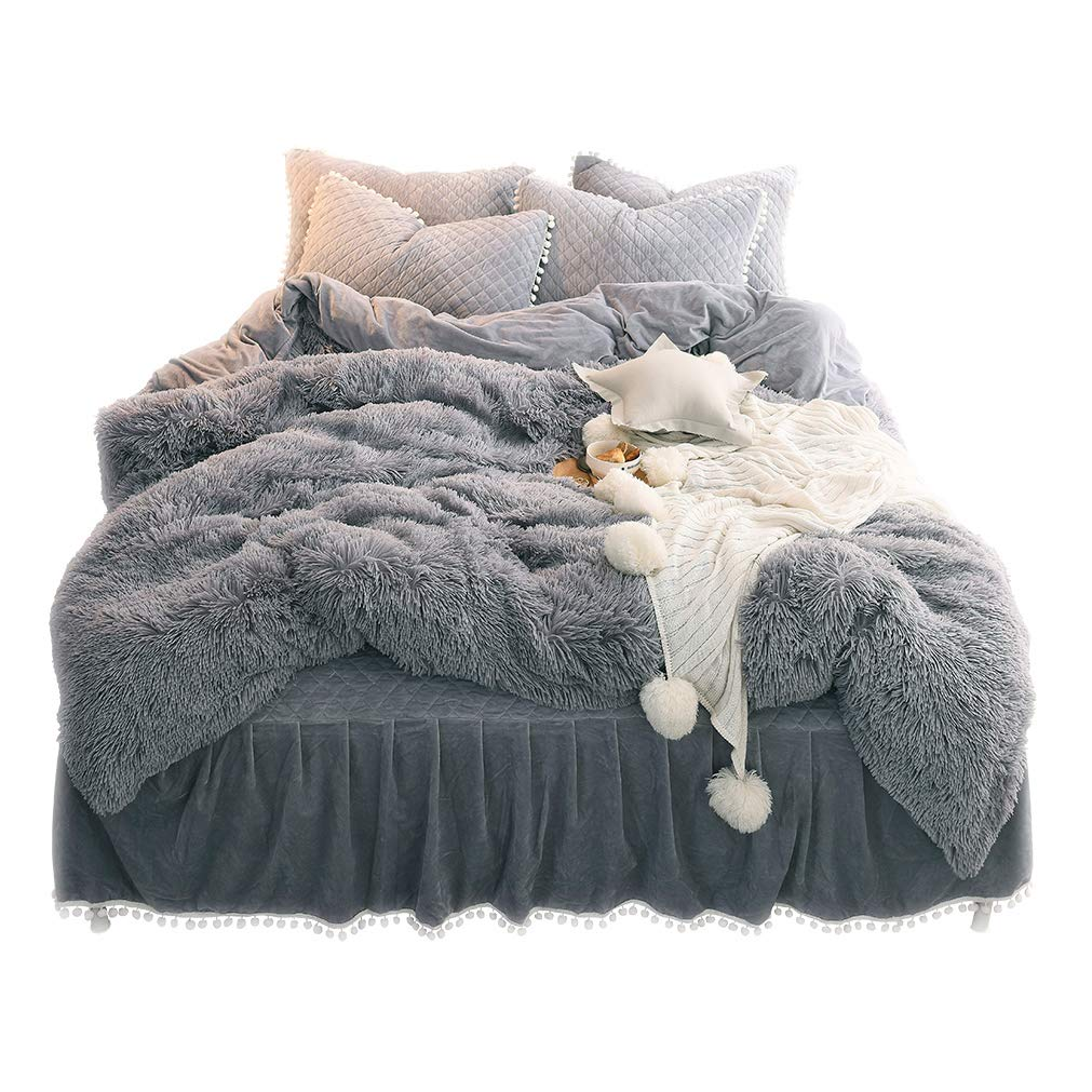 Liferevo Luxury Plush Shaggy Duvet Cover Set 1 Faux Fur