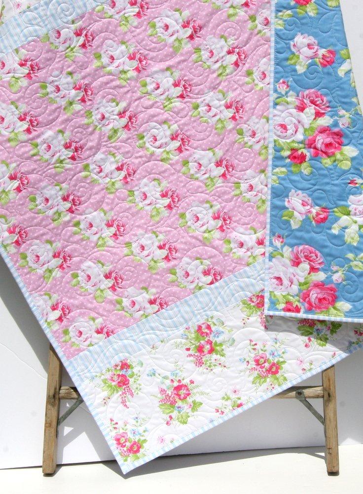 Shabby Chic Baby Girl Quilt, Cottage Tanya Whelan Pastel Light Pink Blue White Child Youth Crib Bedding Roses Nursery Decor Floral Toddler Baby Blanket
