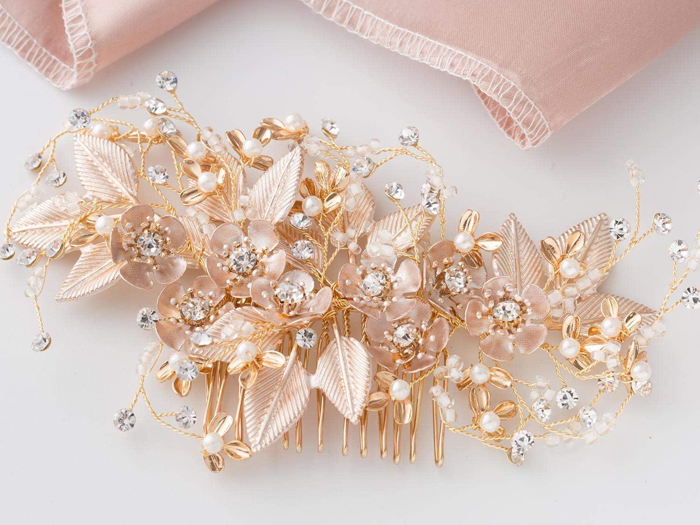 SWEETV Handmade Wedding Hair Comb Pearl Floral Leaf Bridal Hair Accessories for Brides and Bridesmaid