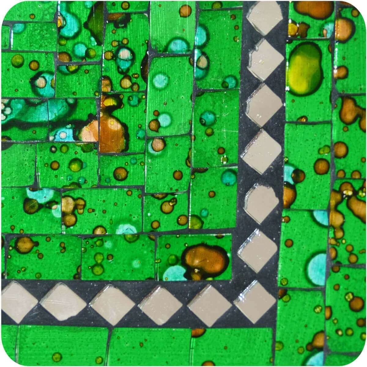 Mosaikschale Tonschale Glas-Schale Mosaik Kunst Deko Quadrat Spiegel mittel