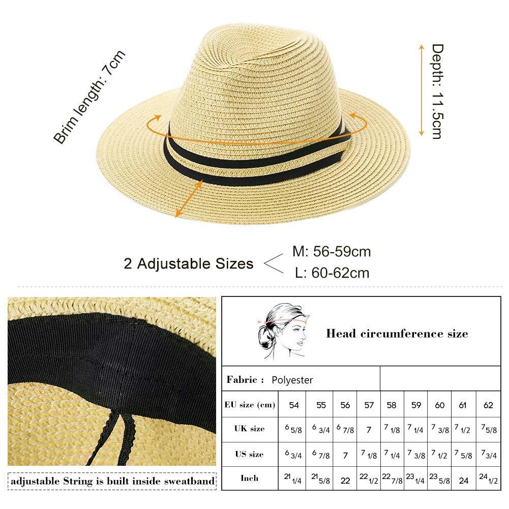 Womens Mens Straw Fedora Brim Panama Beach Havana Summer Sun Hat Party Floppy