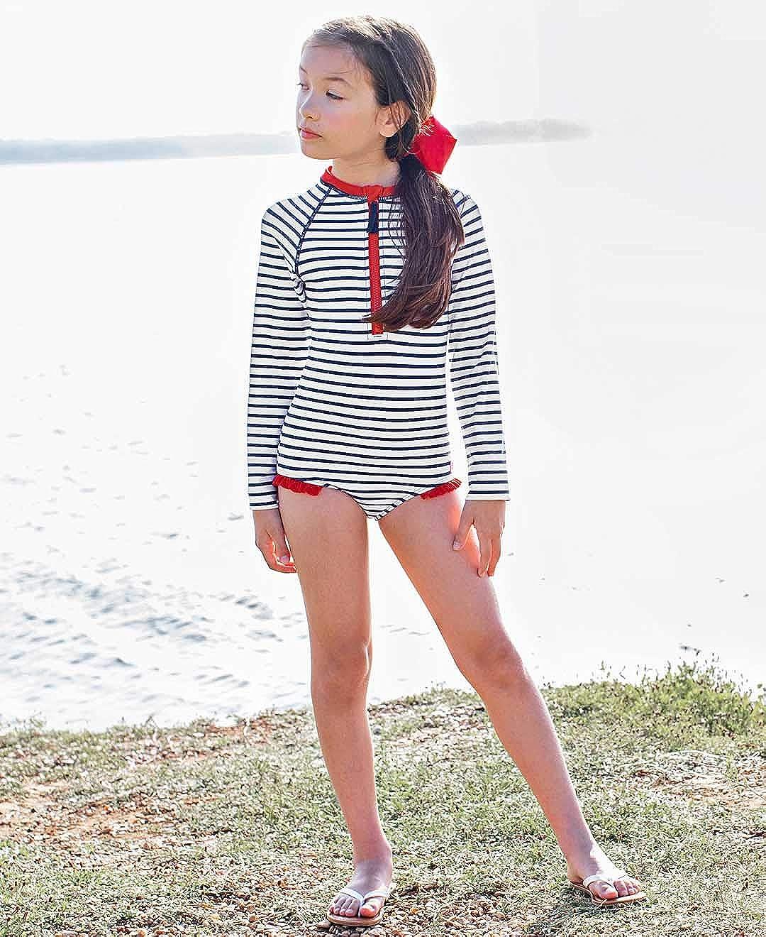 RuffleButts Little Girls Long Sleeve Zipper Rash Guard One Piece w//UPF 50 Sun Protection RGSYYXX-1PZP-SC-TDLR