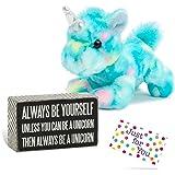 J4U Always Be A Unicorn Box Sign and Plush Blueberry Ripple Unicorn Set with Gift Tag