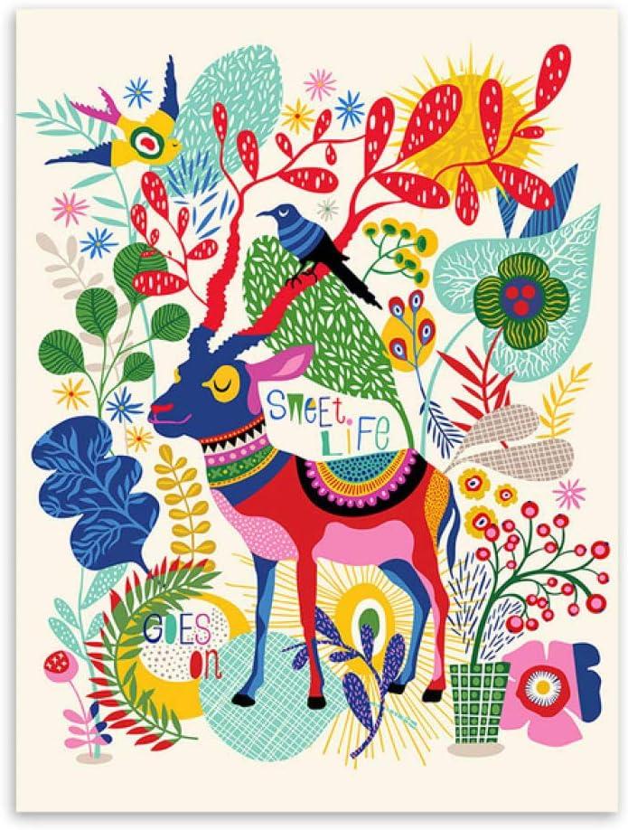 LiMengQi Moderno Abstracto Colorido Animal Ciervo Caballo Llama Posters nórdico Pared Arte Imprime Cuadros Estilo Retro Decorativa para el hogar Lienzo Pintura (No Frame)