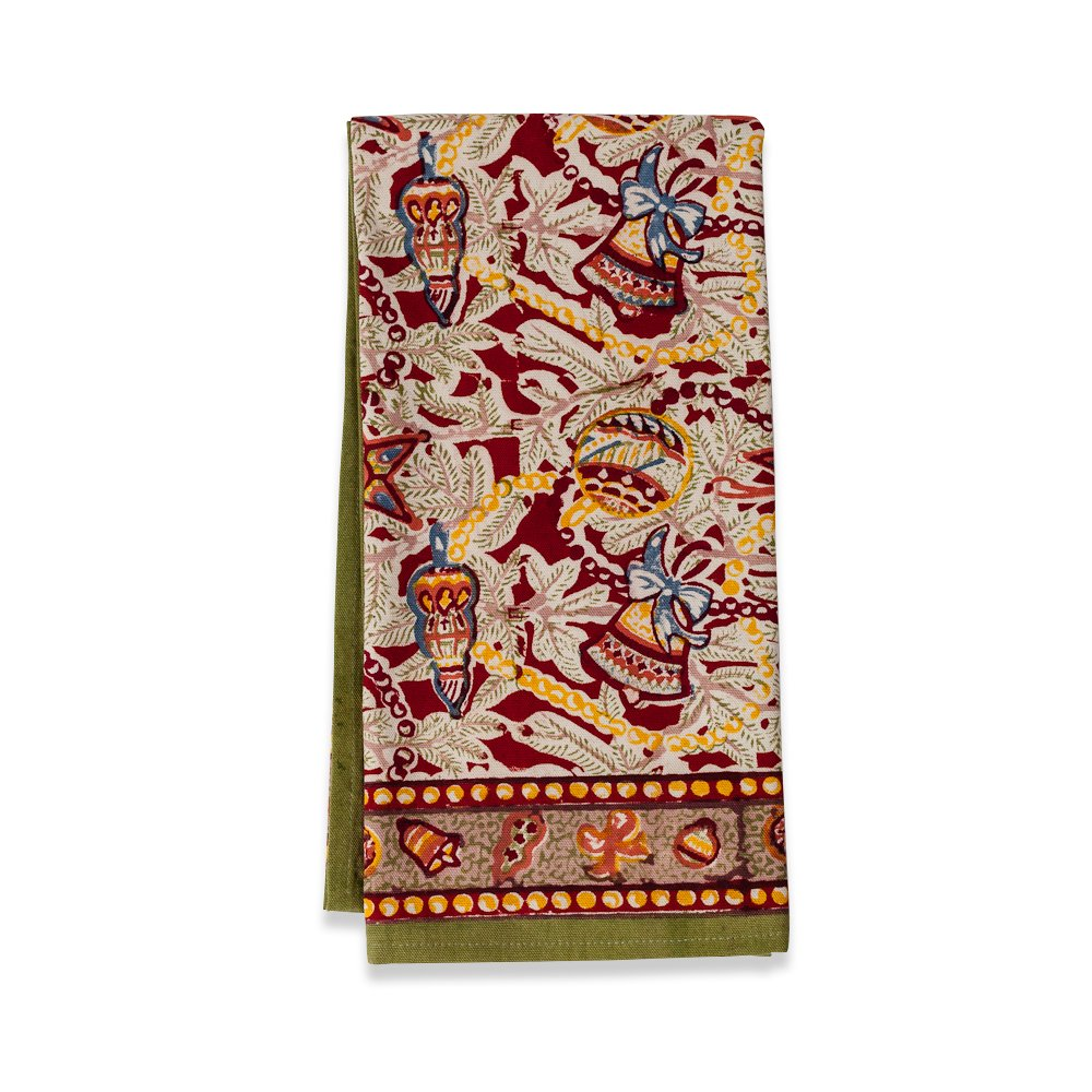 Couleur Nature 20-inches by 30-inches Noel Tea Towels, Red/Green, Set of 3 by Couleur Nature