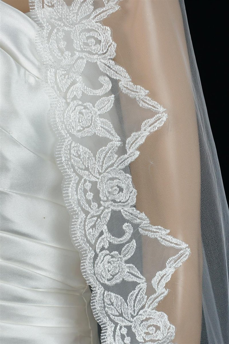 Bridal Wedding Mantilla Veil Ivory 1 Tier Long Cathedral Length With Lace Edge by Velvet Bridal (Image #6)