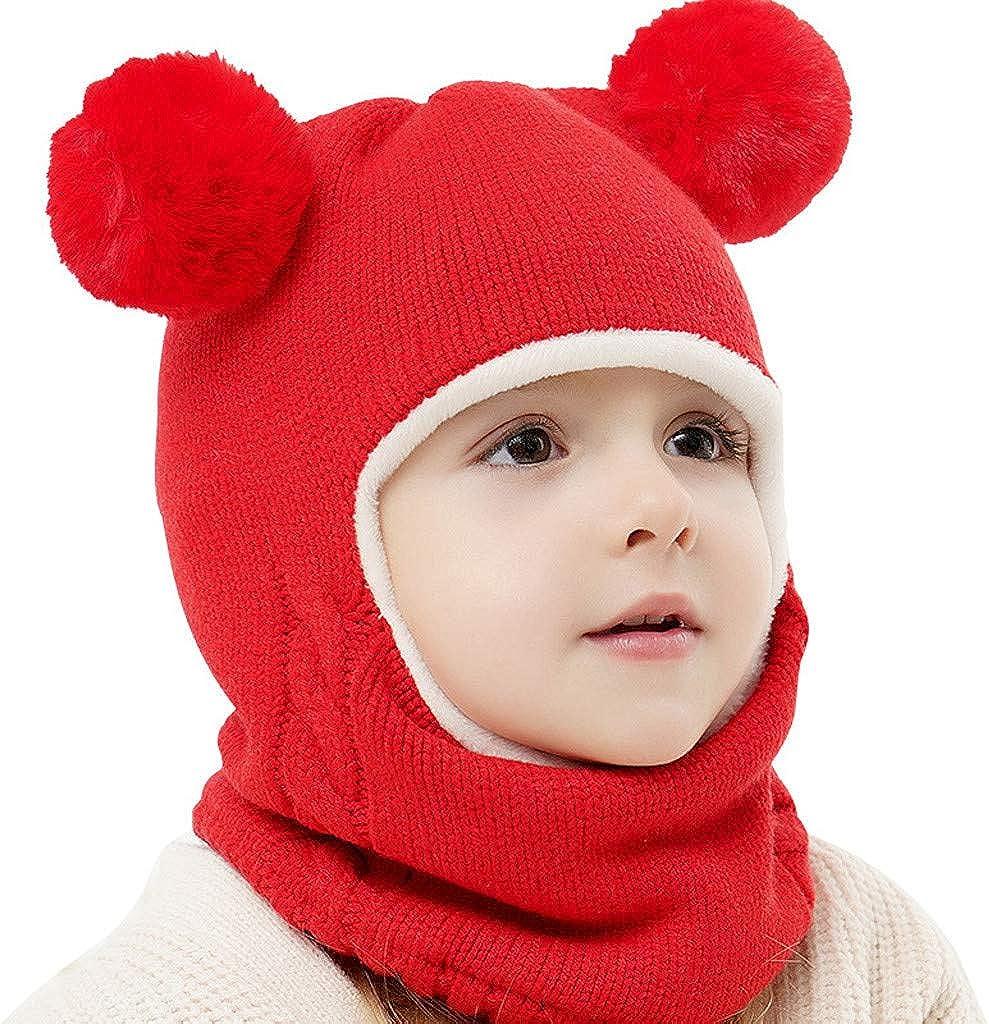 LOOKAA 2Pcs Toddler Baby Girls Boys Winter Warm Knitted Beanie Cap+Scarf Keep Warm Set