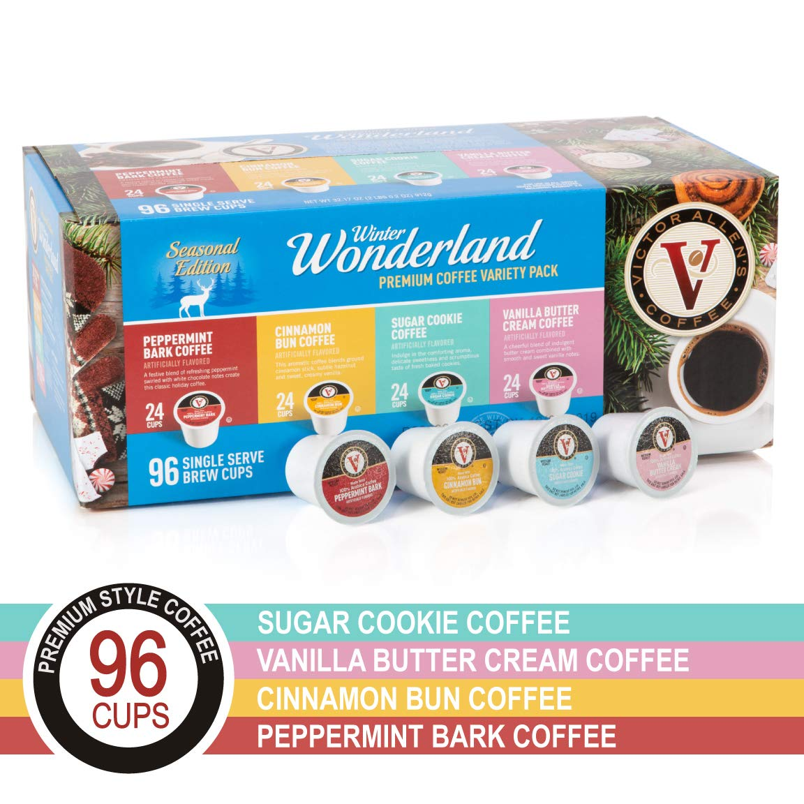 Winter Wonderland Variety Pack for K-Cup Keurig 2.0 Brewers, 96 Count Victor Allen's Coffee Medium Roast Single Serve Coffee Pods