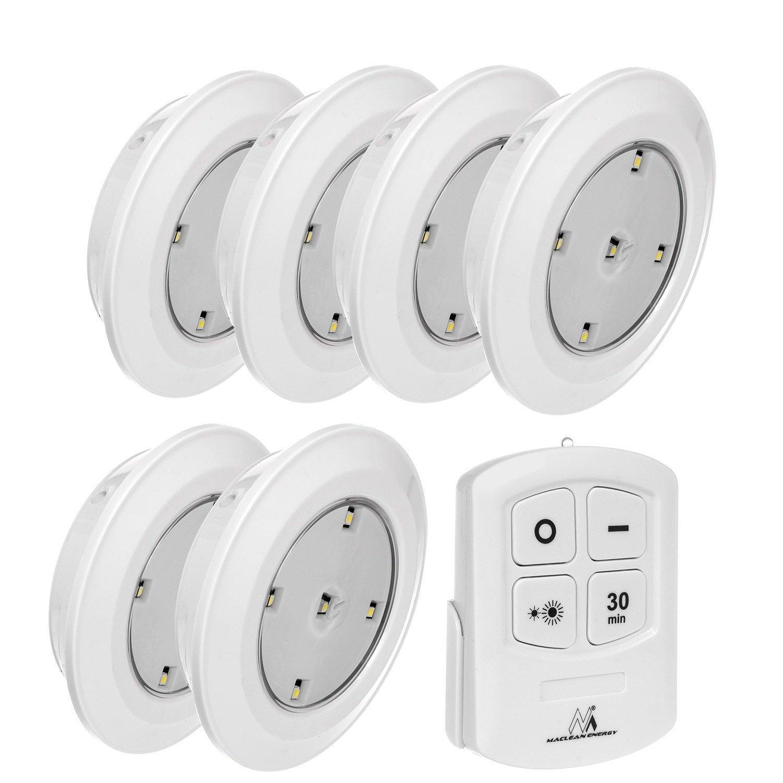 Maclean MCE165 LED Fernbedienung Deckenbeleuchtung Wandlampe Kabellos Lampe Batterie, White,