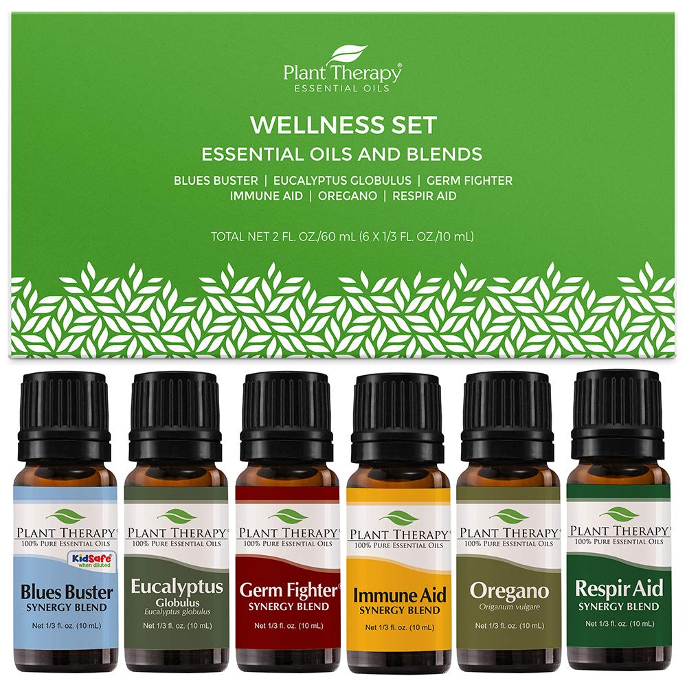 Plant Therapy Wellness Essential Oil Gift Set. Includes: Germ Fighter, Immune-Aid, Respir-Aid, Blues Buster, Eucalyptus and Oregano. 10 mL (1/3 Ounce) each.