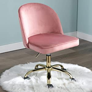 CIMOTA Armless Home Office Chair Upholstered Velvet Swivel Task Chair Adjustable Vanity Chair with Wheels Modern Desk Chair for Study (Pink)