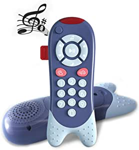 Richgv Baby Learning Remote Musical Toy Remote Control Toy with Sound, Light Early Learning Education for Toddlers Blue