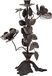Creative Co-op Taper Cut Metal Flowers in Zinc Finish Candle Holder, Black