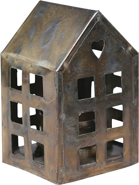 Chic Antique Lichthaus Antik Messing Windlicht Teelichthalter Kerzenhaus H14 Neu