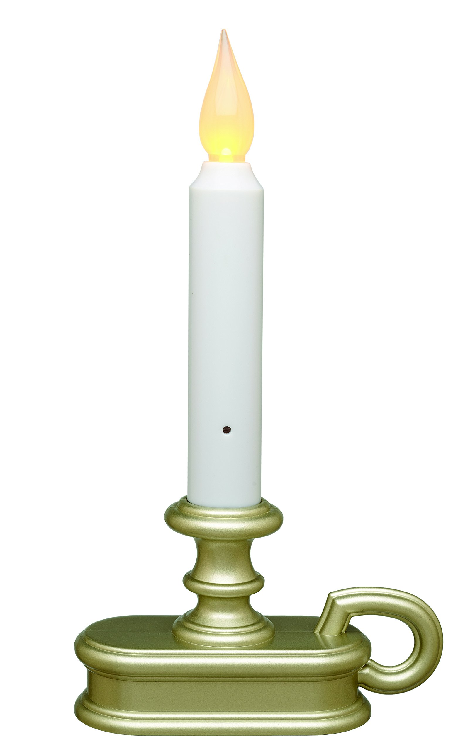 Battery Operated LED Dusk to Dawn Light Sensor Window Candle with Pewter Base Flicker and Full On Setting