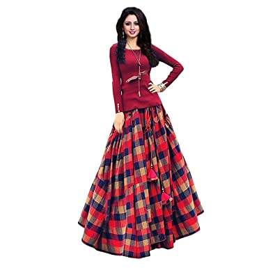 f852558374 Moksha Enterprise Women's Bangalori Satin Long Skirt Gown And Top  (red_01_red_ Free Size): Amazon.in: Clothing & Accessories