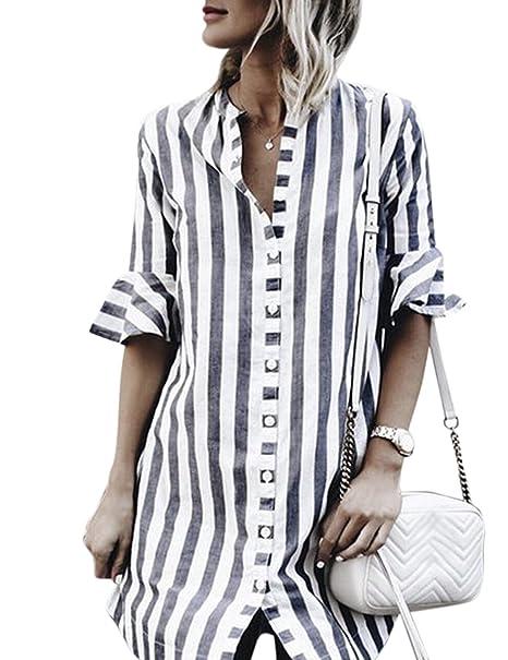 Blusa de rayas para Las mujeres con estilo retro, camiseta de moda para las mujeres, blusa de Botones de decoración gris camisa a rayas: Amazon.es: Ropa y ...