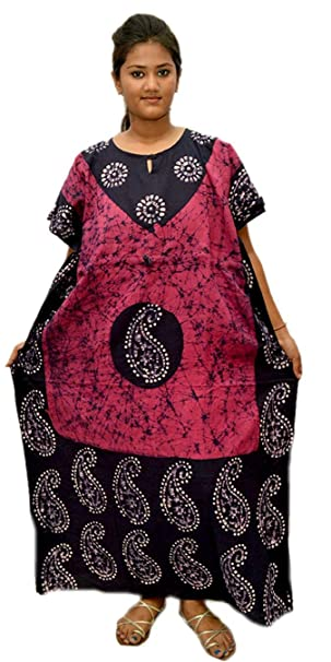 Odishabazaar Batik Floral Boho Long Caftan/Kaftan Women Casual Maxi Plus  Size Long Dress Gown