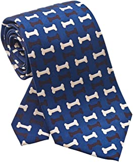 product image for Josh Bach Men's Dog Bones Silk Necktie Blue, Made in USA