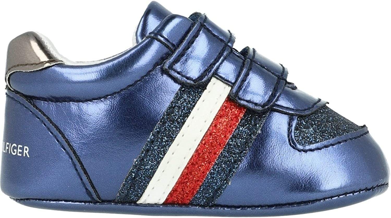 Tommy Hilfiger Crib Bleu Cuir /Écologique M/étallis/é B/éb/é Semelle Douce Chaussures